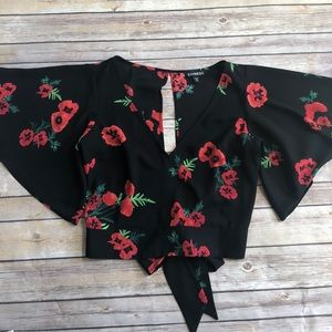 Express floral open back wrap top